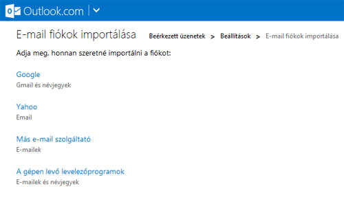 Outlook.com import