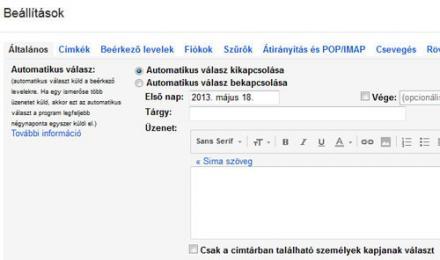 Automatikus válasz Gmail
