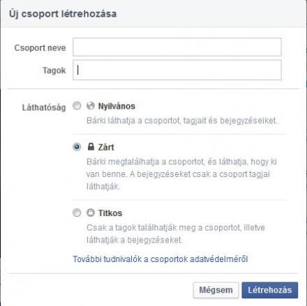 Facebook csoport létrehozása