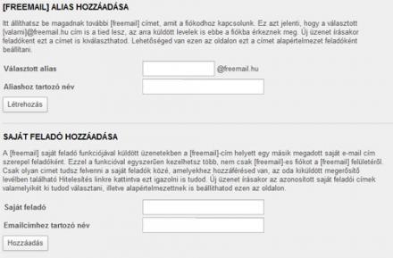 Freemail aliasok kezelése