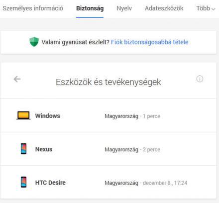 Google belépések listázása