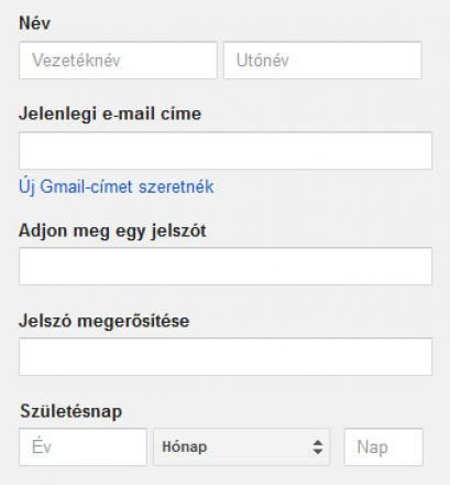 Google fiók létrehozása Gmail cím nélkül
