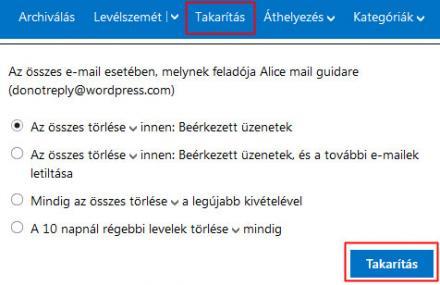 Outlook.com (Hotmail) takarítás funkció