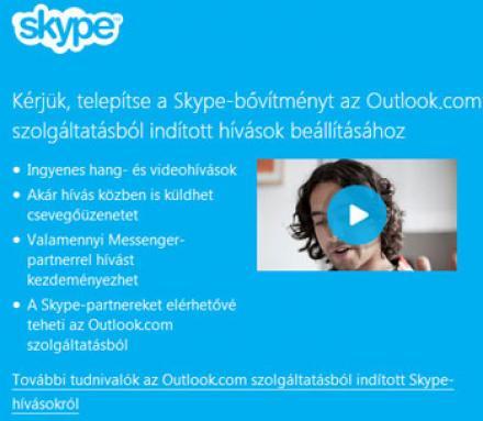 Skype integrálása az Outlook.com