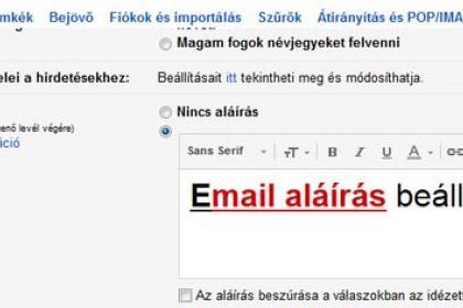 Email aláírás Gmail