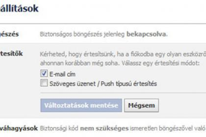 Facebook Bejelentkezési értesítő