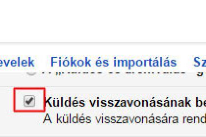 Gmail küldés visszavonás beállítás