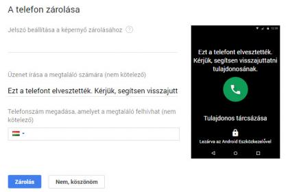 Google telefon zárolása távolról